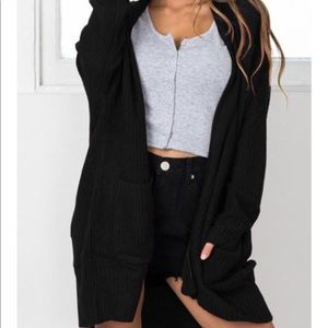 Sweaters - Patchwork Pockets Long Sleeve Cardigan - Black